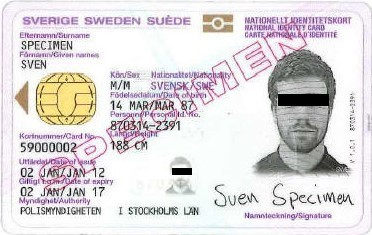 Example image of the front of an identity card